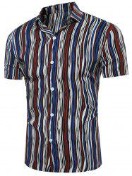 Short Sleeve Breathable Color Block Stripe Shirt