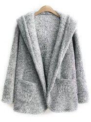 Hooded One Button Fleece Coat
