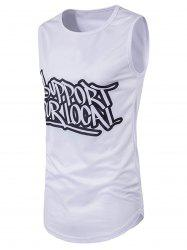 Graphic Print Crew Neck Longline Tank Top