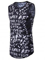 Graphic Print Longline Hip Hop Tank Top