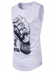 3D Fist Print Crew Neck Longline Tank Top