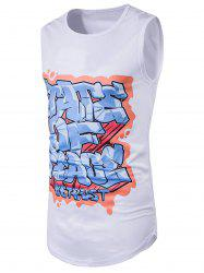 3D Graffiti Print Crew Neck Longline Tank Top