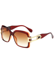 Hollow Cut Frame Oversize Gradient Lens Square Sunglasses - TEA-COLORED