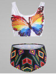 Plus Size Butterfly Print Cute High Waisted Bikini