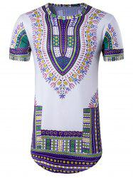 Colorful Tribal Print Crew Neck Longline T-Shirt