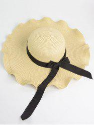 Bowknot Wave Shape Fedora Straw Hat - OFF-WHITE