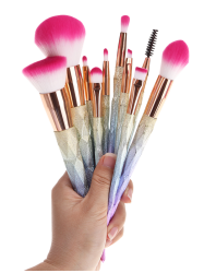 10 Pcs Glitter Rainbow Makeup Brushes Set