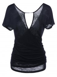Ruched Chain Embellished  Dee V Neck T-Shirt