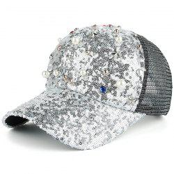 Star Faux Pearl Mesh Spliced Baseball Hat