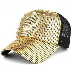Sunscreen Rivet Mesh Baseball Hat - GOLDEN