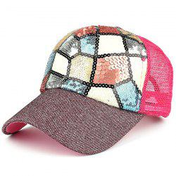 Outdoor Sequin Mesh Spliced Baseball Hat - PLUM