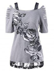 Lace Trim Ripped Floral T-Shirt - GRAY