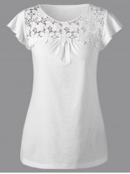 Lace Trim Cutwork T-Shirt