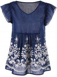 Cap Sleeve Embroidered Flounced Blouse