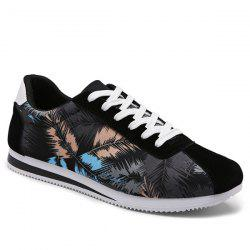 Suede Insert Leaves Printed Casual Shoes - Noir