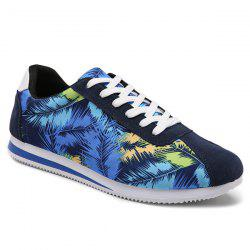 Suede Insert Leaves Printed Casual Shoes