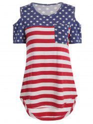 American Flag Print Cold Shoulder Tee