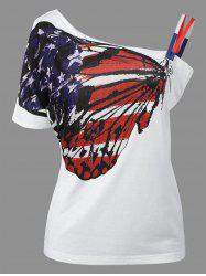 Skew Neck Patriotic American Flag Print Tee - WHITE 2XL