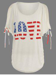 Love Graphic Patriotic American Flag Print Tee