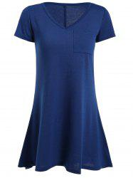 High Low Short Sleeve Mini Dress - BLUE