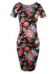 Skinny Floral Midi Pencil Dress