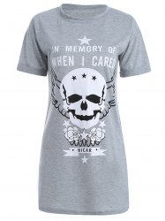 Skull Print Short Sleeve T-Shirt Dress - LIGHT GRAY