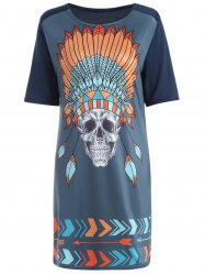 Tribal Skull Print Casual Straight T-Shirt Dress