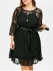 Plus Size A Line Lace Dress With Belt