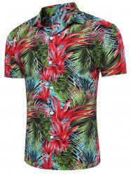 Breathable 3D Florals and Leaves Print Shirt - RED