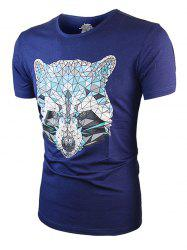 Geometric Wolf Printed Short Sleeve Tee