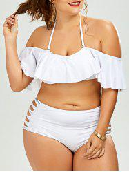 Cut Out Plus Size Ruffle Halter Bikini