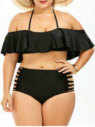Cut Out Plus Size Ruffle Halter Bikini - BLACK 3XL