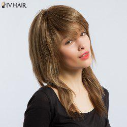 Siv Hair Long Colormix Inclined Bang Straight Human Hair Wig