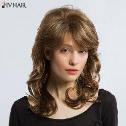 Siv Hair Medium Shaggy Side Bang Colormix Wavy Human Hair Wig - COLORMIX