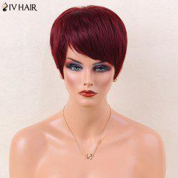 Siv Hair Ultra Short Silky Straight Oblique Bang Human Hair Wig