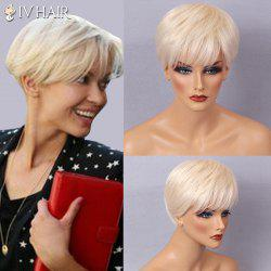 Siv Hair Short Layered Side Bang Silky Straight Human Hair Wig - OFF-WHITE