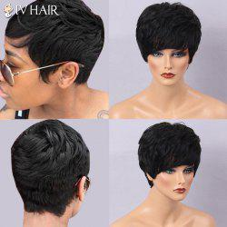 Siv Hair Ultra Short Side Bang Layered Curly Human Hair Wig