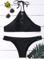 High Neck String Halter Bikini Suit