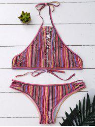 String Halter Bikini Set In Stripe