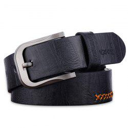 Sewing Thread Cowboy Style Wide Belt - BLACK