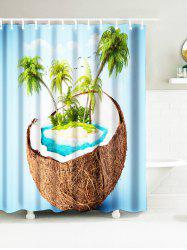 Tropical Coconut Tree Island Waterproof Fabric Shower Curtains