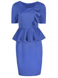 Knee Length Frilly Pencil Peplum Dress
