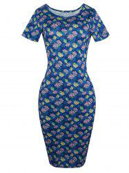 Short Sleeve Floral Midi Pencil Dress