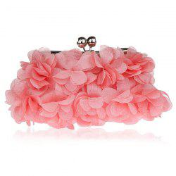 Kisslock Petal Satin Evening Bag - PINK