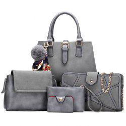 Pompon Scarf 5 Pieces Suede Handbag Set - GRAY
