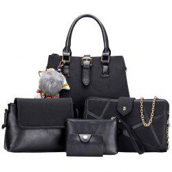 Pompon Scarf 5 Pieces Suede Handbag Set - BLACK