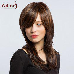 Adiors Long Inclined Bang Hightlight Silky Layered Slightly Curled Synthetic Wig