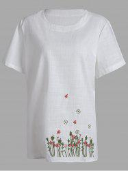 Plus Size Blossom Floral Embroidered Linen Top