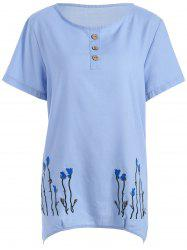 Plus Size Floral Embroidered Linen Tops