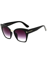 UV Protection Metallic Square Mirrored Reflective Sunglasses - BRIGHT BLACK C4